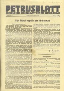 Petrusblatt, Nr. 1, 2. Dezember 1945