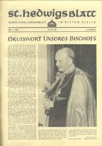 St. Hedwigsblatt, Nr. 1, 3. Januar 1954